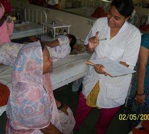 One of the member with the participating subject at rural hospital as a part of project