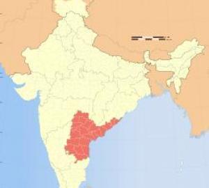 map of Andhra Pradesh region of India